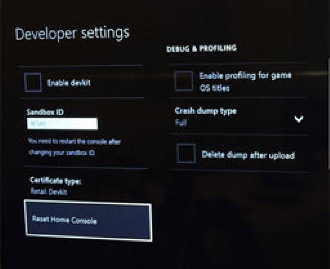 Xbox One Consumer Dev Menu