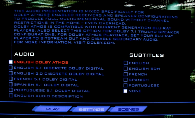 Dolby Atmos menu selection