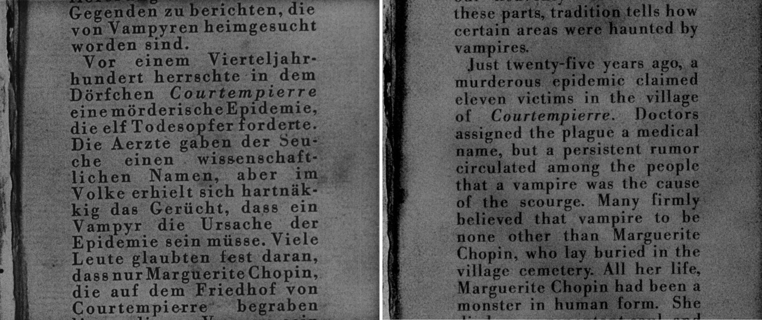 Vampyr - German vs English Book Text Comparison