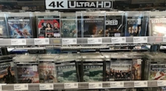 4K Ultra HD Blu-rays on a shelf