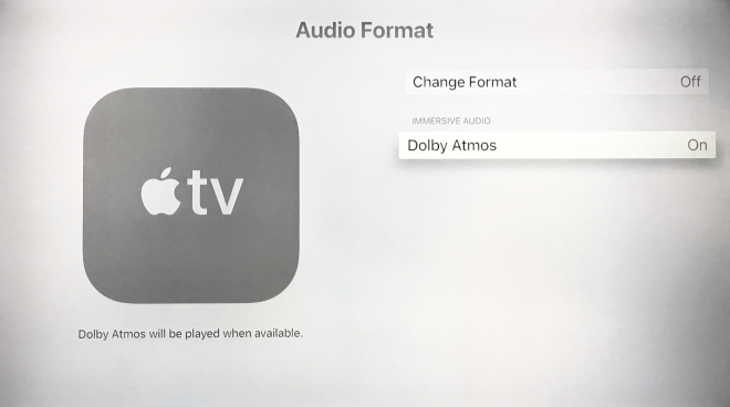 Audio Format Menu Apple TV 4K with Dolby Atmos