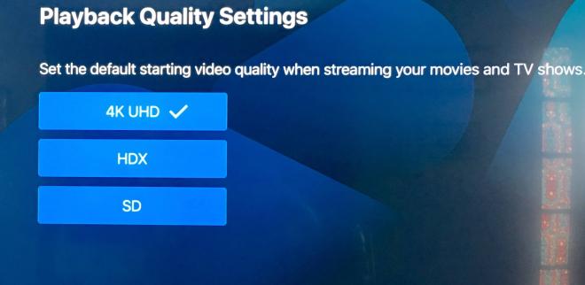 Vudu Playback Quality Settings Menu Apple TV 4K
