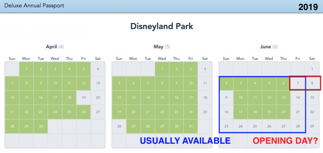 Disneyland Park June 2019 Blockout Dates is a clue about Star Wars Galaxy's Edge